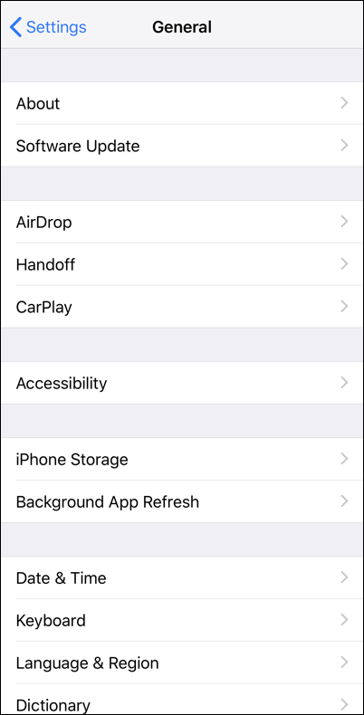 iphone ios general settings