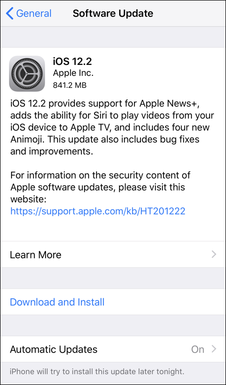 ios software update - iphone xs - ios 12.2