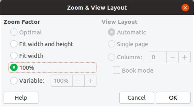 libre calc zoom options