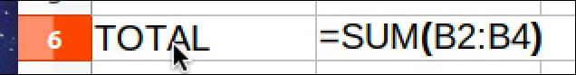 spreadsheet sum total formula