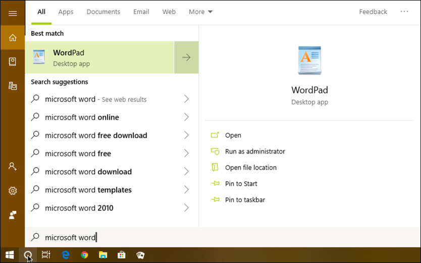 search for microsoft word matches wordpad win10