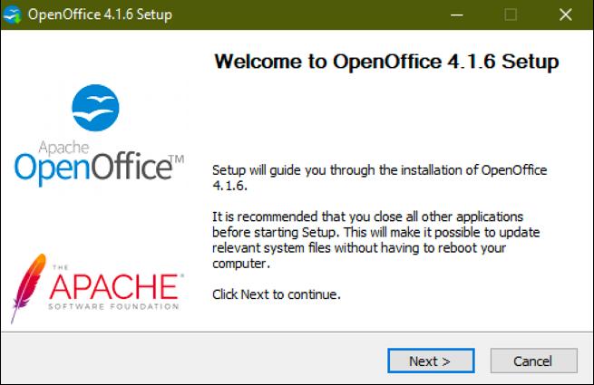openoffice installer windows 10