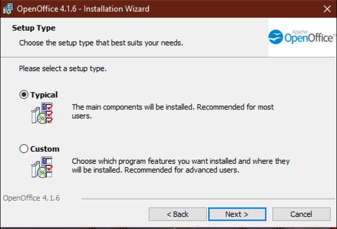 open office - standard or custom install