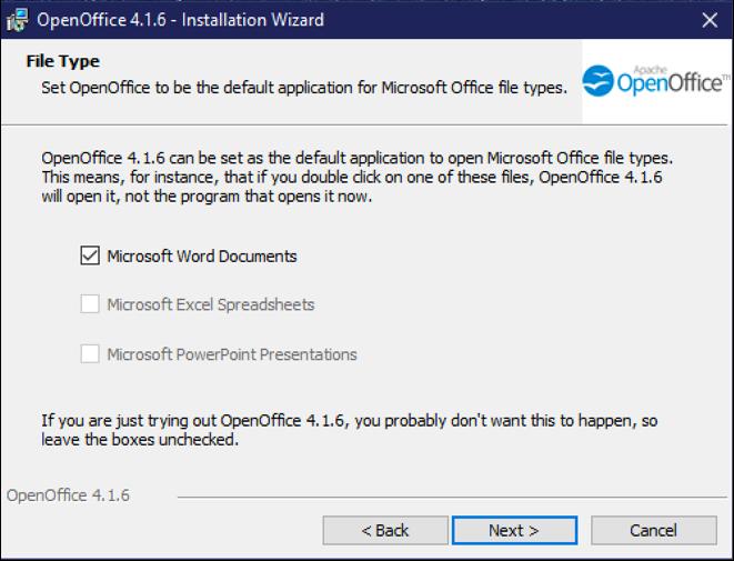 associate openoffice writer with microsoft word documents files windows win10