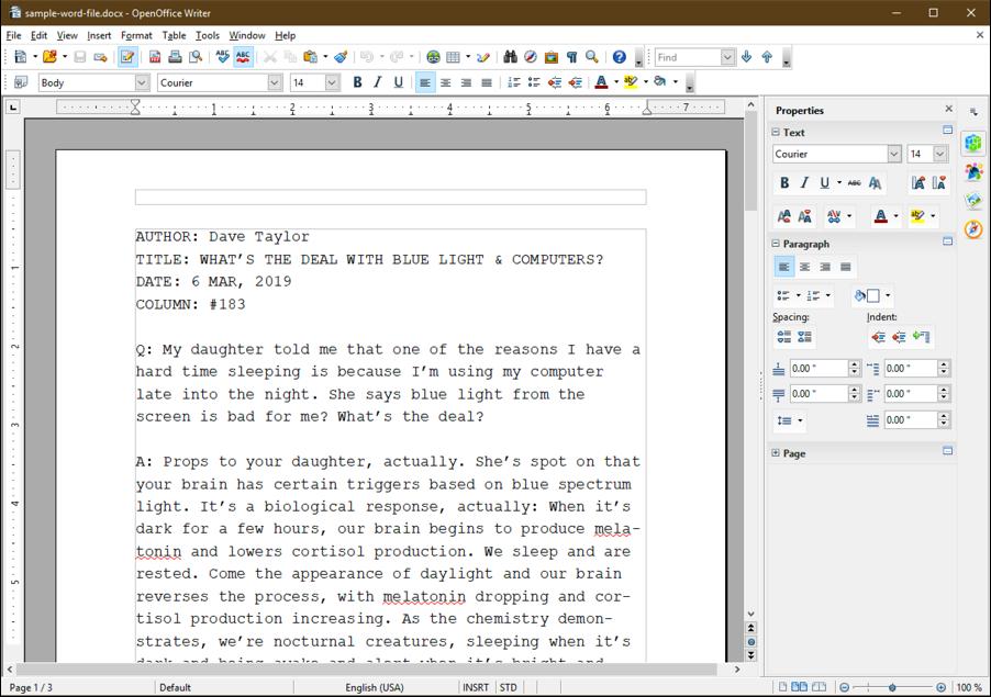 openoffice writer microsoft word doc windows