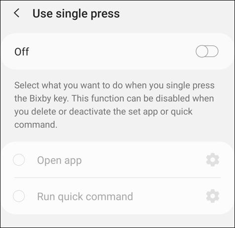 single press bixby button settings