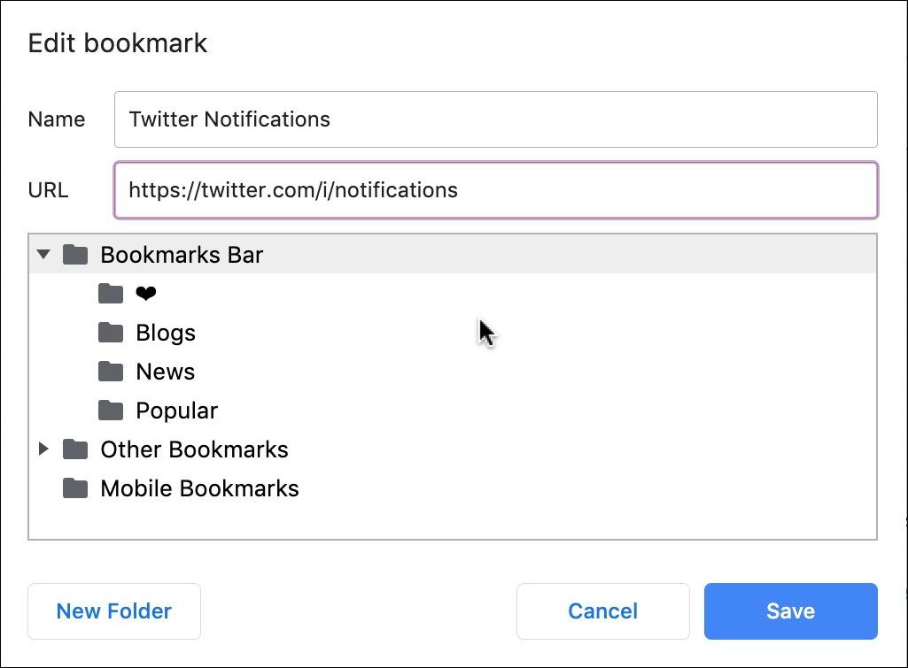 edit bookmark chrome