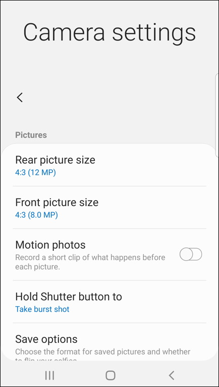 android camera app - settings