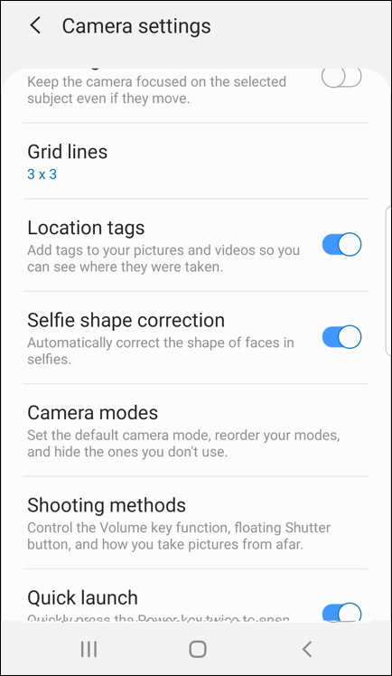 android camera app settings - store location tags