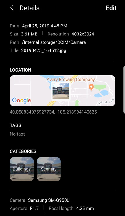 android photo with exif geolocation location data embedded