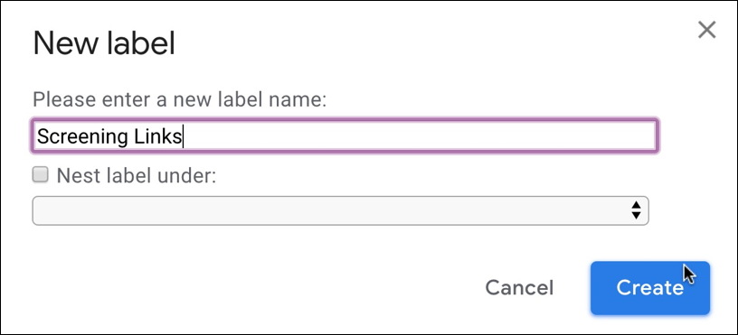 gmail - create new label