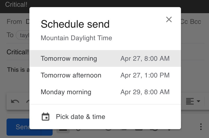 gmail schedule send options