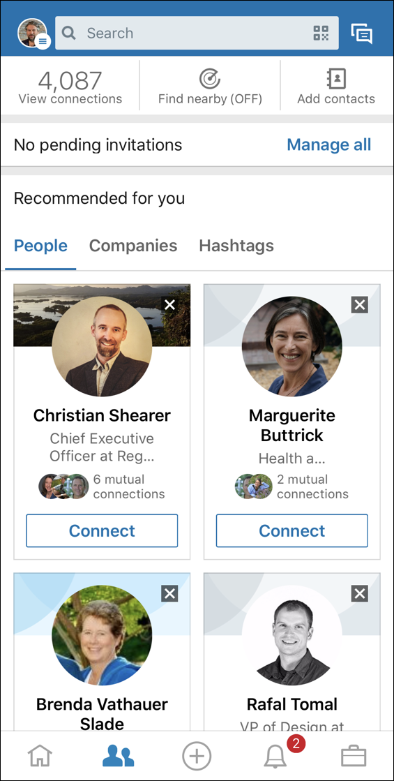 linkedin mobile - people connections page