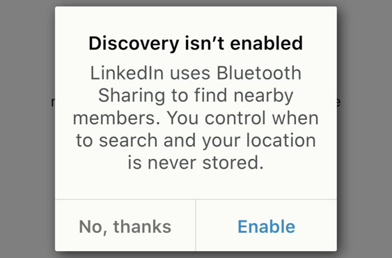 linkedin: discovery isn't enabled
