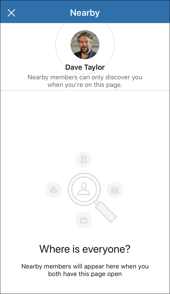 linkedin find nearby - empty no-one