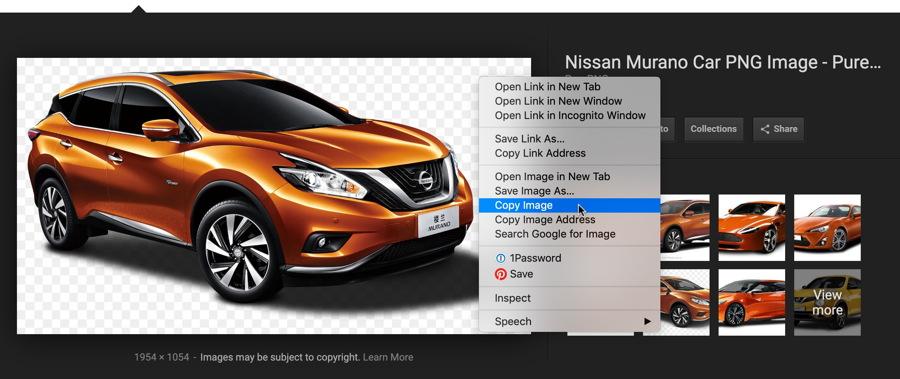copy image - google image search - nissan murano