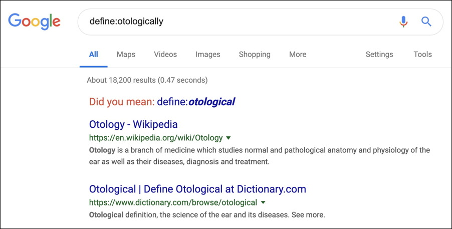 google define word dictionary look up search example otologically