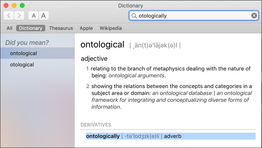 macos dictionary - wrong definition