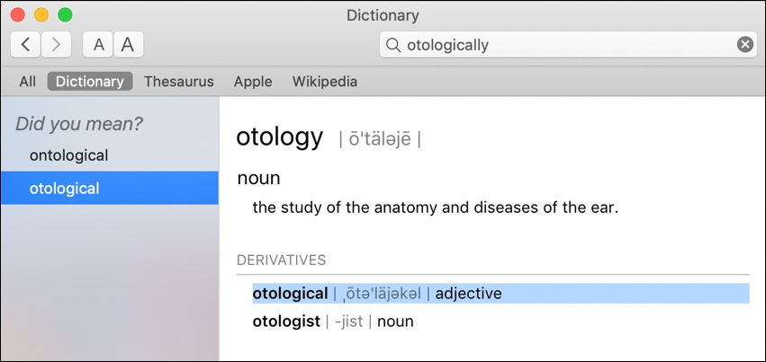 mac dictionary correct definition