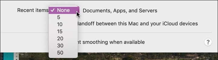 mac recent items setting preference