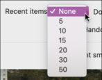 open recent setting preference mac macos x pages numbers