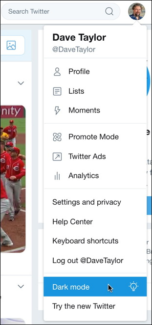 twitter web ui - dark mode menu