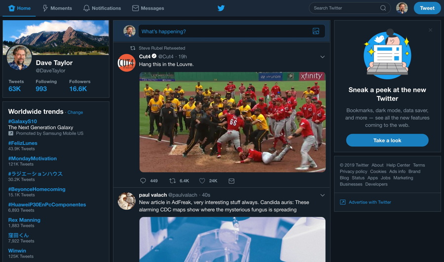 twitter web ui - dark mode