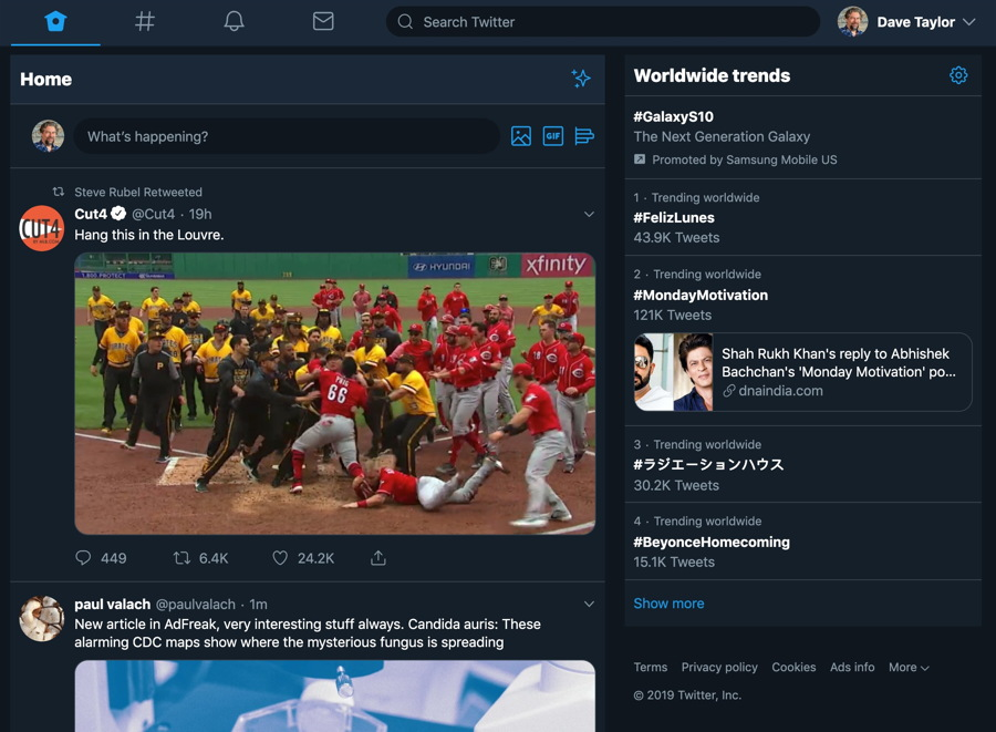 twitter 2019 new user interface - dark mode