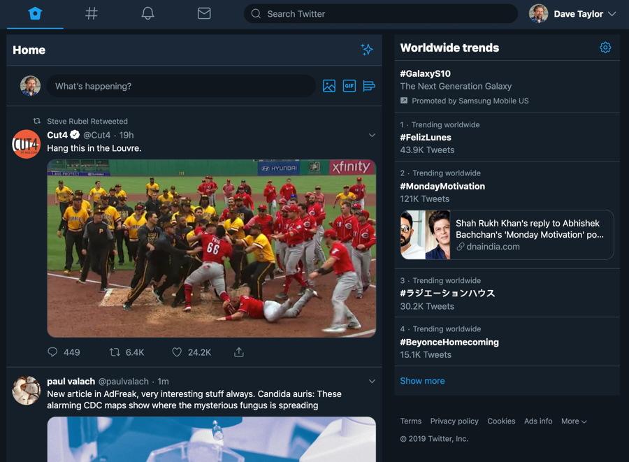 twitter 2019 new user interface - dark mode