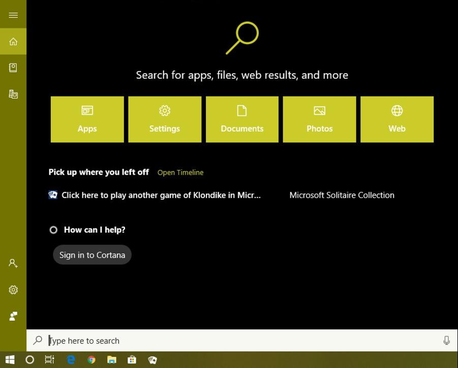 windows 10 search box