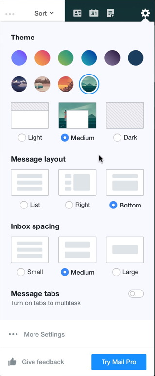 yahoo mail ui changes theme settings spacing