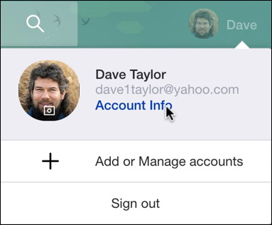yahoo mail account info
