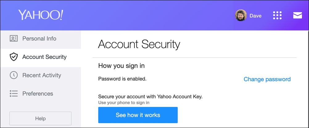yahoo account info security
