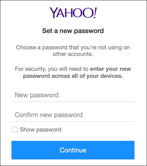yahoo mail change password