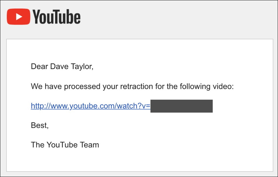 youtube cancelled retracted removed deleted copyright strike claim