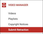 retract cancel delete youtube copyright strike violation report