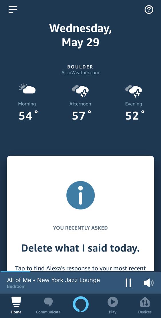 amazon echo alexa app - iphone - main screen