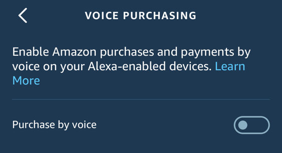 amazon echo alexa voice purchasing setting preference enable disable