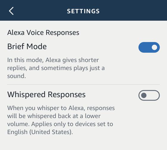 amazon echo alexa app - iphone - whispered response