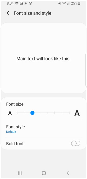 android adjust font size and style setting