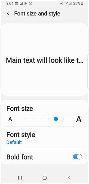 bigger font text android