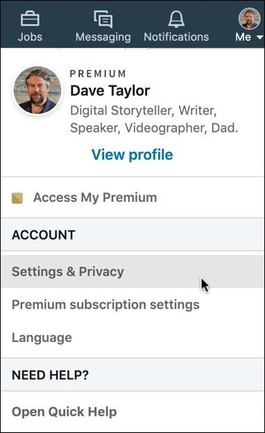 linkedin account & settings menu