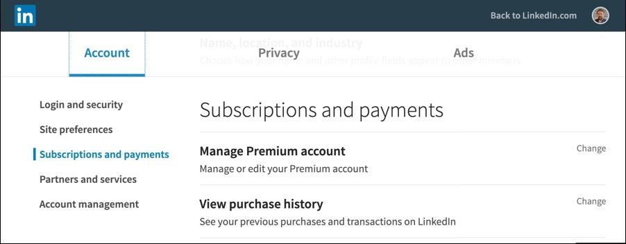 linkedin - settings - premium