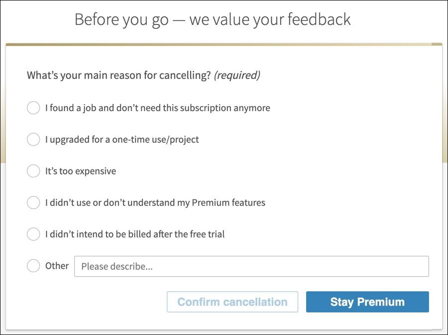 linkedin premium- cancel - why