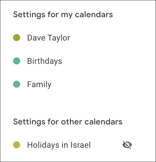 gcal google calendar settings hidden calendar