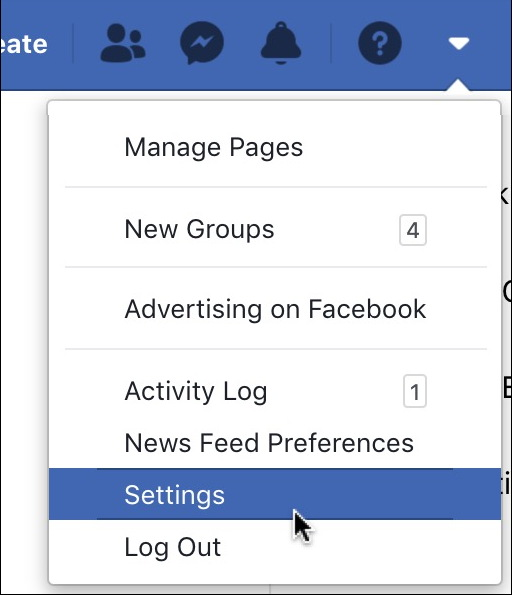 facebook settings menu