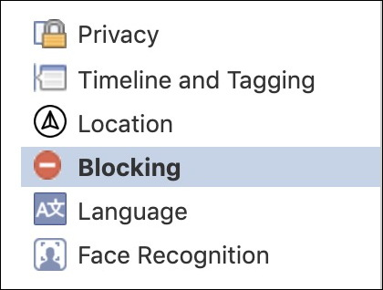 facebook settings > blocking