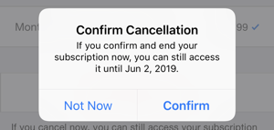 iphone ipad confirm cancellation itunes app store subscription