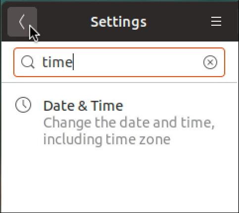 ubuntu linux settings - search - time