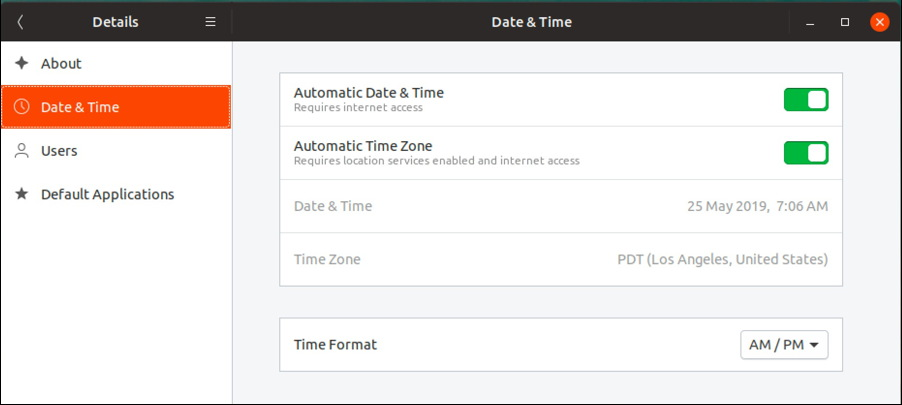 ubuntu linux date & time settings preferences